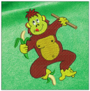 Monkey embroidery on green