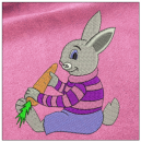 Rabbit with carrot embroidery on pink