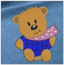 Teddy Bear embroidery on blue