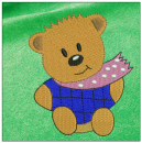 Teddy Bear embroidery on green