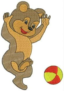 Bear with ball embroidery design