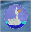 Duck embroidery on blue