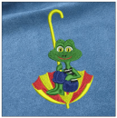Frog embroidery on blue