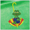 Frog embroidery on green