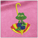 Frog embroidery on pink