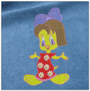 Little duck girl embroidery on blue