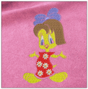 Little duck girl embroidery on pink