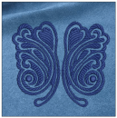 Butterfly embroidery on blue