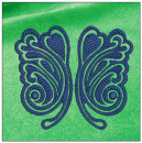 Butterfly embroidery on green