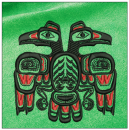 Eagle embroidery on green