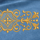 Ornament embroidery on blue
