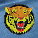 Tiger embroidery on blue