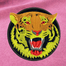 Tiger embroidery on pink