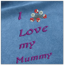 I love my mummy - Mother day embroidery on blue
