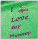 I love my mummy - Mother day embroidery on green
