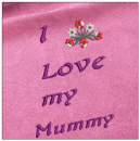 I love my mummy - Mother day embroidery on pink