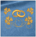 Wedding embroidery on blue