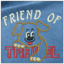 Friend of Travel embroidery on blue