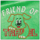Friend of Travel embroidery on green