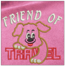 Friend of Travel embroidery on pink