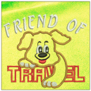 Friend of Travel embroidery on yellow