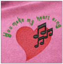 You make my heart sing embroidery on pink