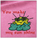You make my sun shine embroidery on pink