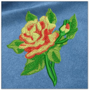 Rose embroidery on blue