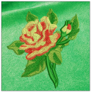 Rose embroidery on green