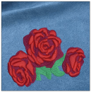 Roses embroidery on blue