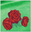 Roses embroidery on green
