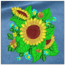 Sunflower embroidery on blue