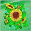 Sunflower embroidery on green