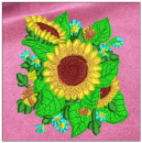 Sunflower embroidery on pink