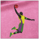 Basketball embroidery on pink
